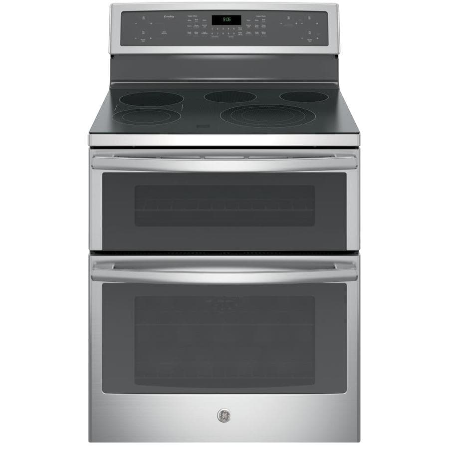 GE 30-in Smooth Surface 5-Element 4.4-cu ft / 2.2-cu ft Double Oven Single-Fan Electric Range (Stainless Steel)