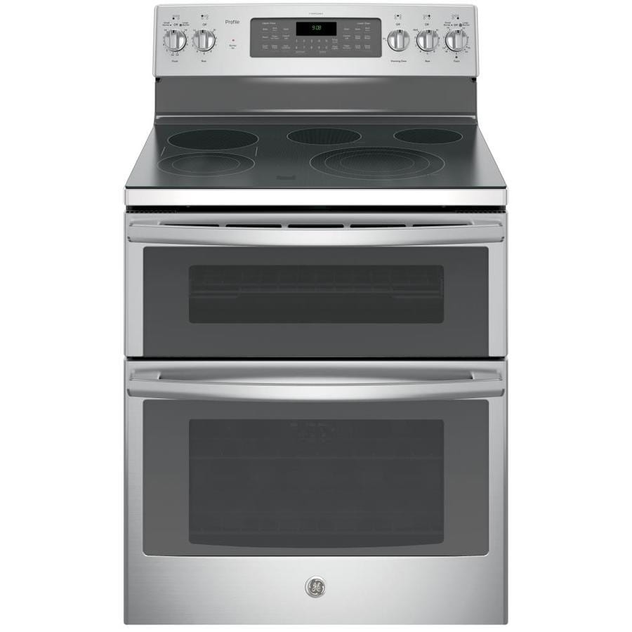 GE Profile Series 30-in Smooth Surface 5-Element 4.4-cu ft / 2.2-cu ft Double Oven Single-Fan Electric Range (Stainless Steel)