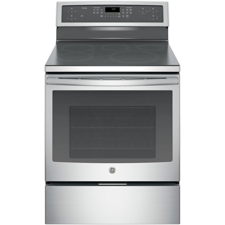 GE Profile Series Profile Smooth Surface Freestanding 5 5.3-cu ft Self-Cleaning Convection Electric Range with Induction Heating (Stainless Steel) (Common: 30-in; Actual: 29.875-in)