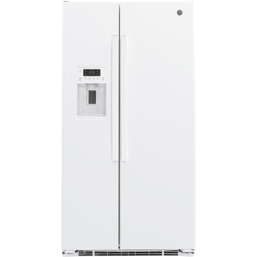 GE 21.9-cu ft Counter-Depth Side-by-Side Refrigerator with Single Ice Maker (White)