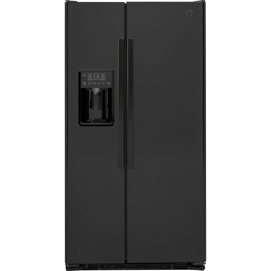 GE 21.9-cu ft Counter-Depth Side-by-Side Refrigerator with Single Ice Maker (Black)