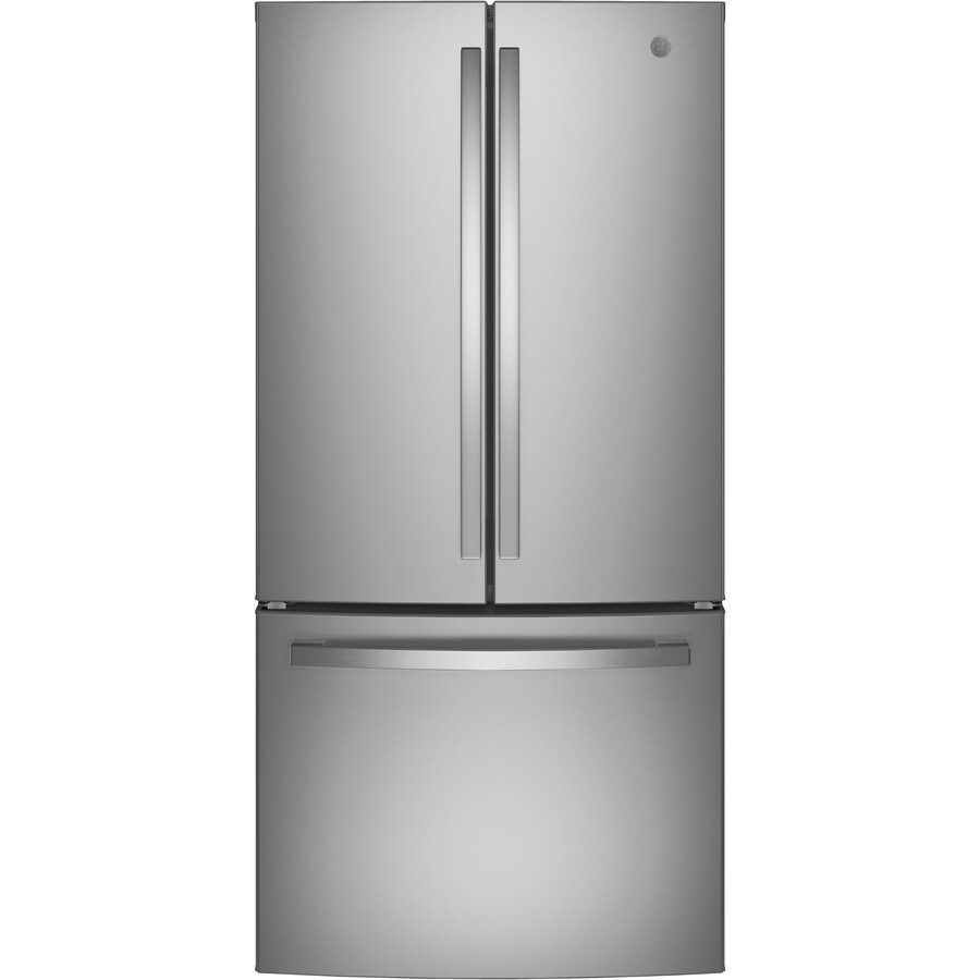 Shop ge 24 8 cu ft french door refrigerator with single for 8ft french doors