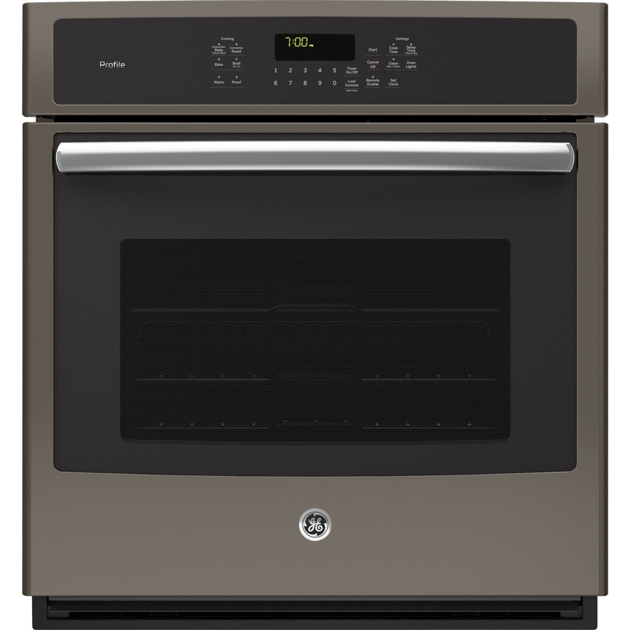 Ge Electric Oven >> Shop GE Profile Series Convection Single Electric Wall Oven (Slate) (Common: 27-in; Actual 26.75 ...