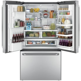 Shop GE Cafe with Keurig K-CUP Brewing System 27.8-cu ft French Door Refrigerator with Ice Maker ...
