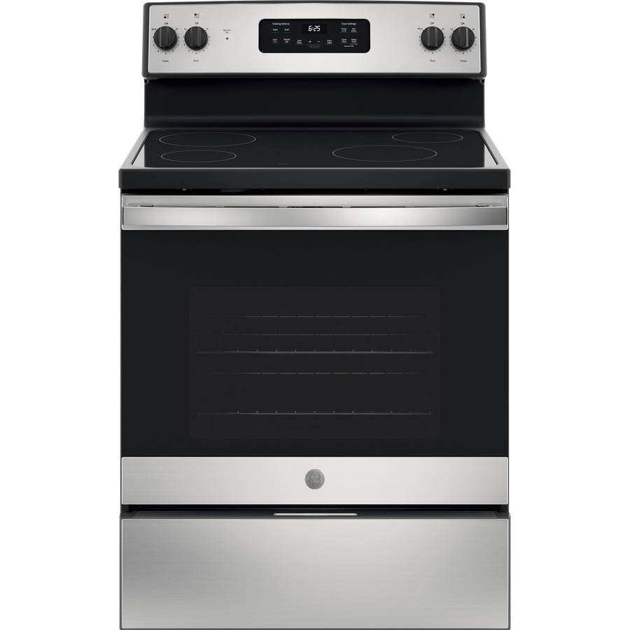 shop ge smooth surface freestanding 5 3 cu ft self cleaning electric range stainless steel. Black Bedroom Furniture Sets. Home Design Ideas