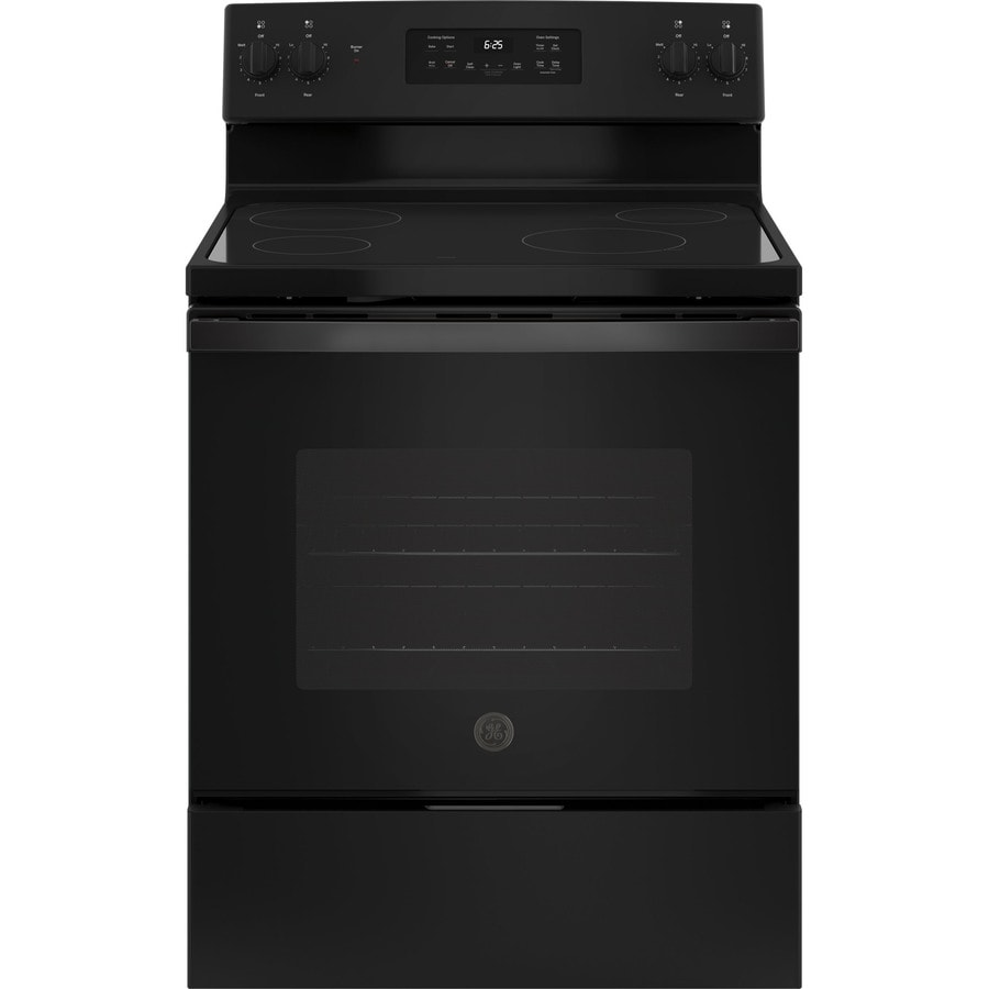 GE Smooth Surface Freestanding 5.3-cu ft Self-Cleaning Electric Range (Black) (Common: 30-in; Actual: 29.875-in)