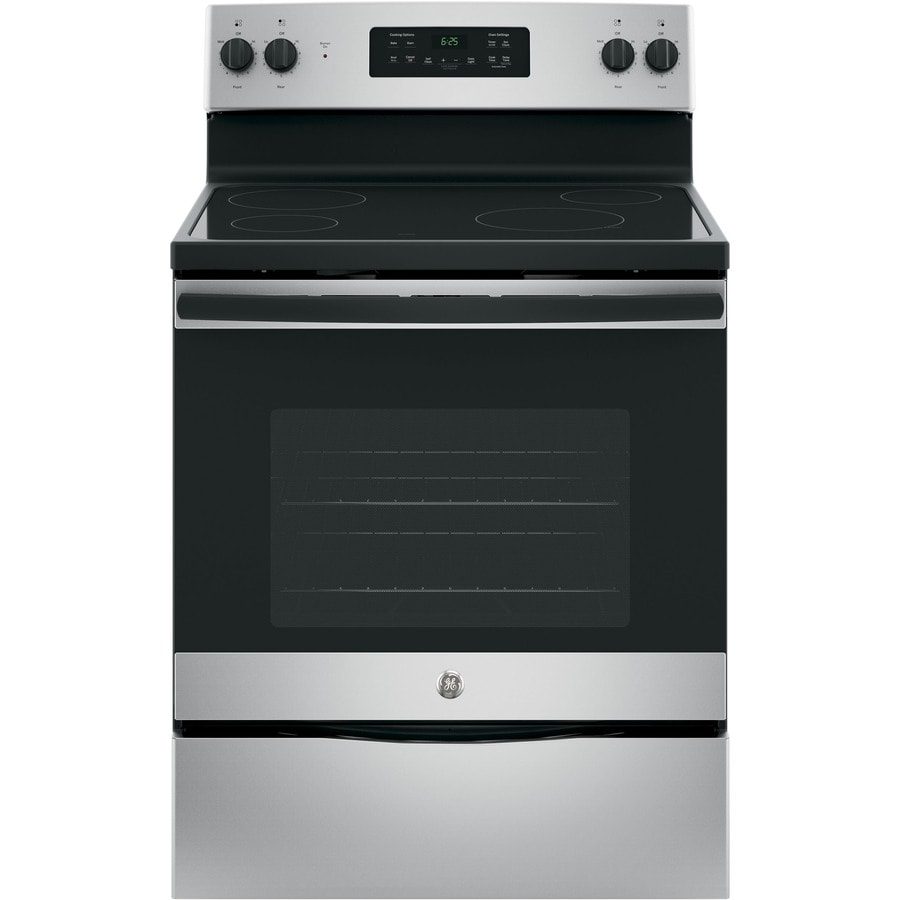 GE Smooth Surface Freestanding 5.3-cu ft Self-Cleaning Electric Range (Silver) (Common: 30-in; Actual: 29.875-in)