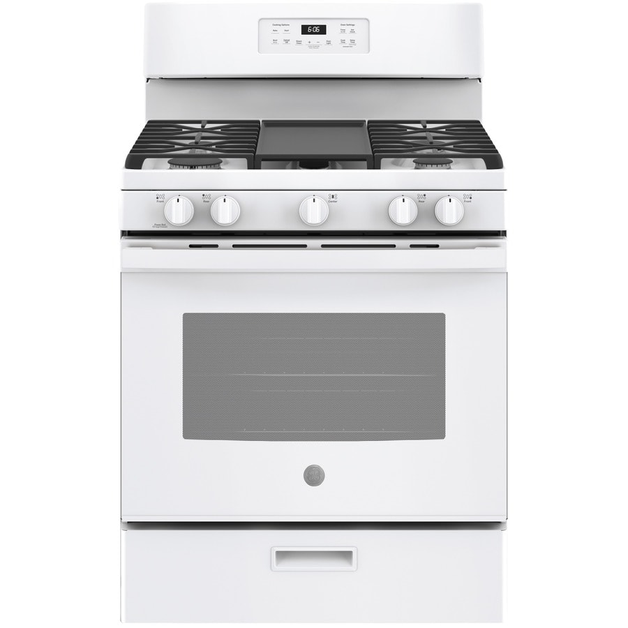 Gas Ranges >> Shop GE 5-Burner Freestanding 5-cu ft Gas Range (White) (Common: 30-in; Actual: 30-in) at Lowes.com