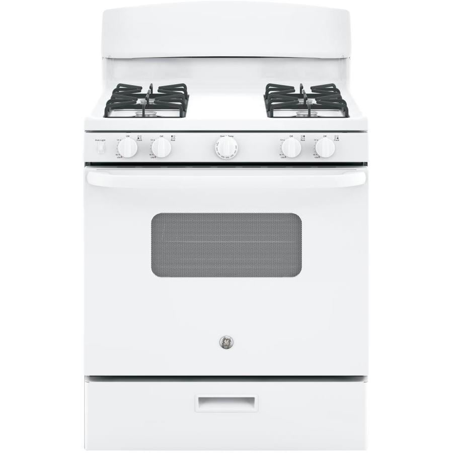 GE Freestanding 4.8-cu ft Gas Range (White) (Common: 30-in; Actual: 30-in)