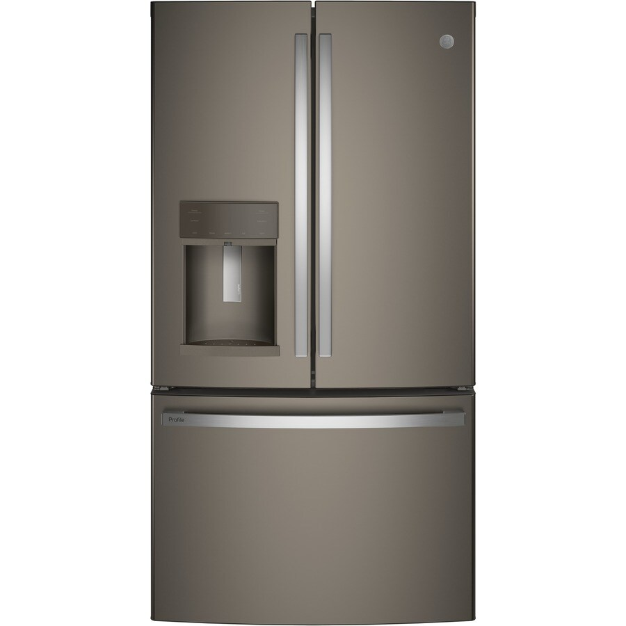 GE Profile Series 22.2-cu ft Counter-Depth French Door Refrigerator with Single Ice Maker (Slate) ENERGY STAR