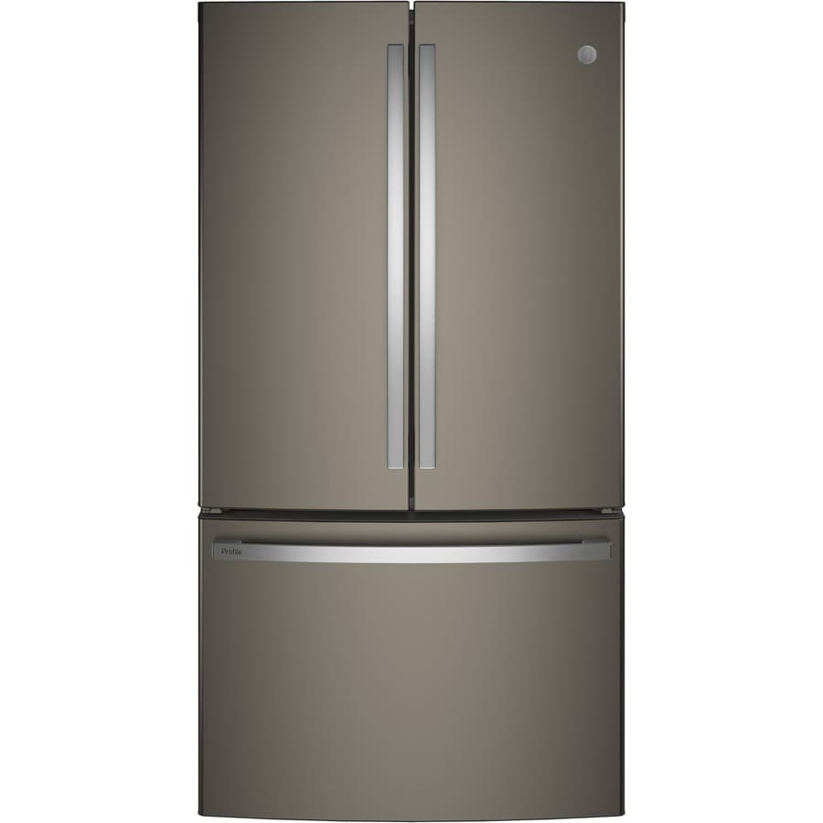 GE Profile Series 23.1-cu ft Counter-Depth French Door Refrigerator with Single Ice Maker (Slate) ENERGY STAR Certified