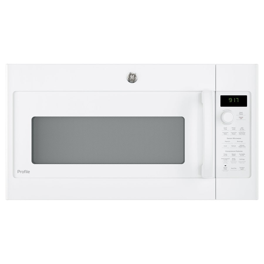GE Profile Series 1.7-cu ft Over-the-Range Convection Microwave with Sensor Cooking Controls (White) (Common: 30-in; Actual: 29.875-in)