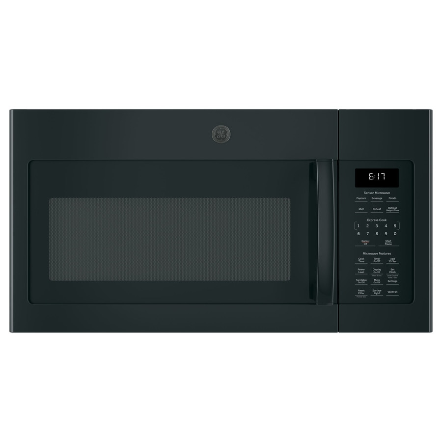 GE 1.7-cu ft Over-The-Range Microwave with Sensor Cooking Controls (Black) (Common: 30-in; Actual: 29.875-in)