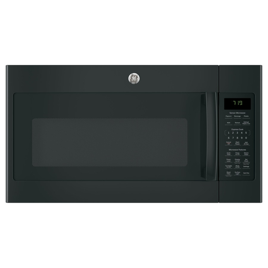 GE 1.9-cu ft Over-The-Range Microwave with Sensor Cooking Controls (Black) (Common: 30-in; Actual: 29.75-in)