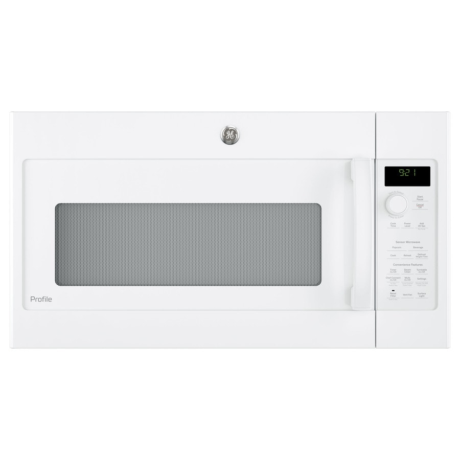 GE Profile Series 2.1-cu ft Over-the-Range Microwave with Sensor Cooking Controls (White) (Common: 30-in; Actual: 29.75-in)