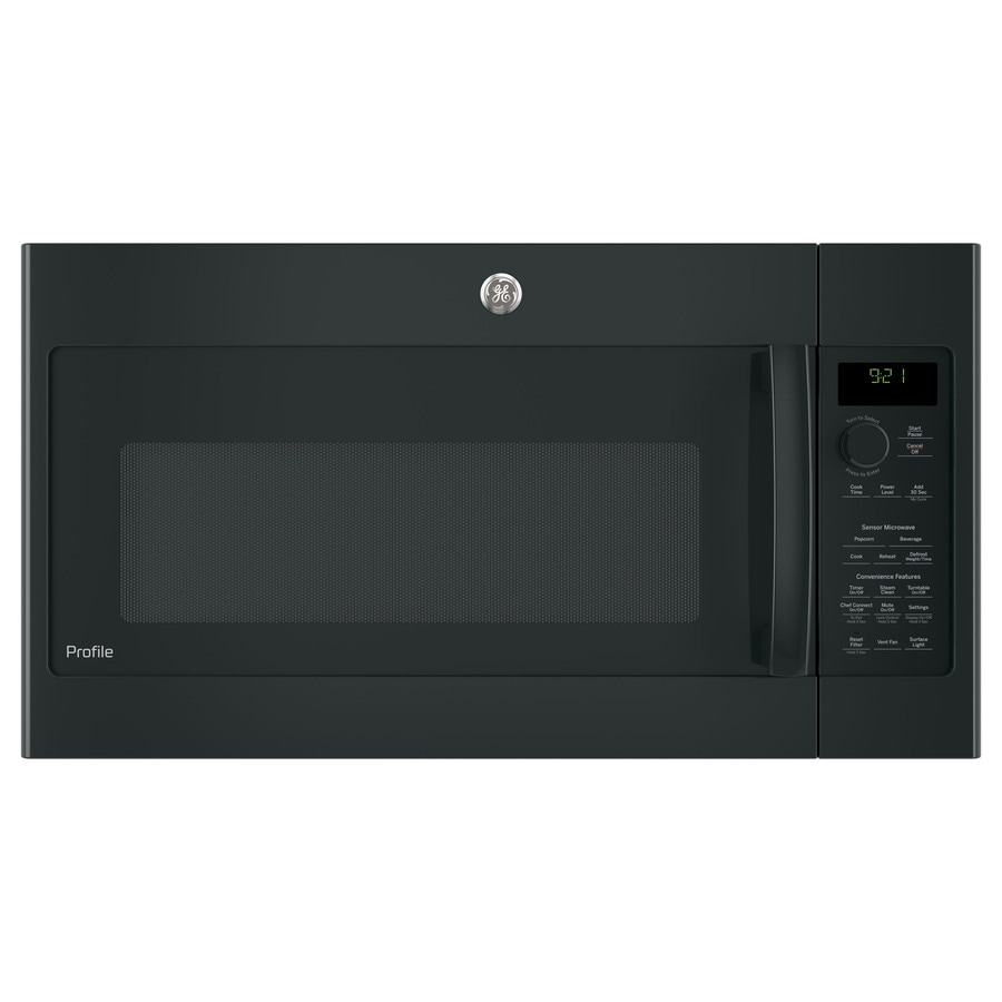 GE Profile Series 2.1-cu ft Over-The-Range Microwave with Sensor Cooking Controls (Black) (Common: 30-in; Actual: 29.75-in)