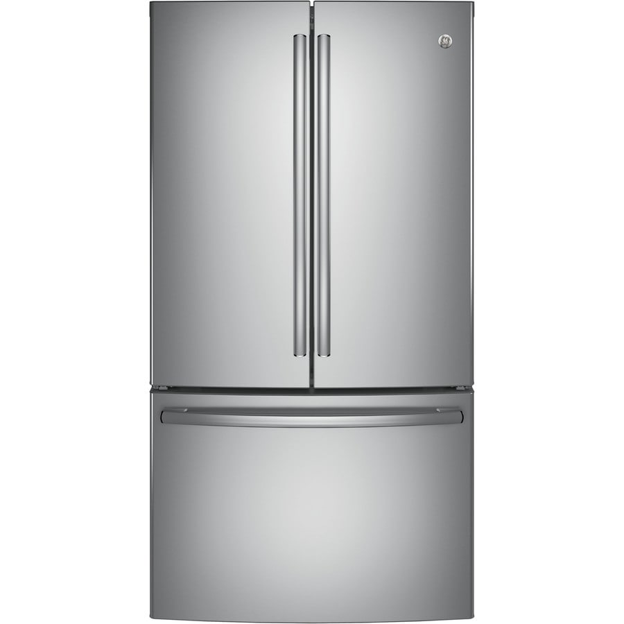 Shop ge 28 5 cu ft french door refrigerator single ice maker stainless steel energy star at for Ge exterior refrigerator icemaker filter