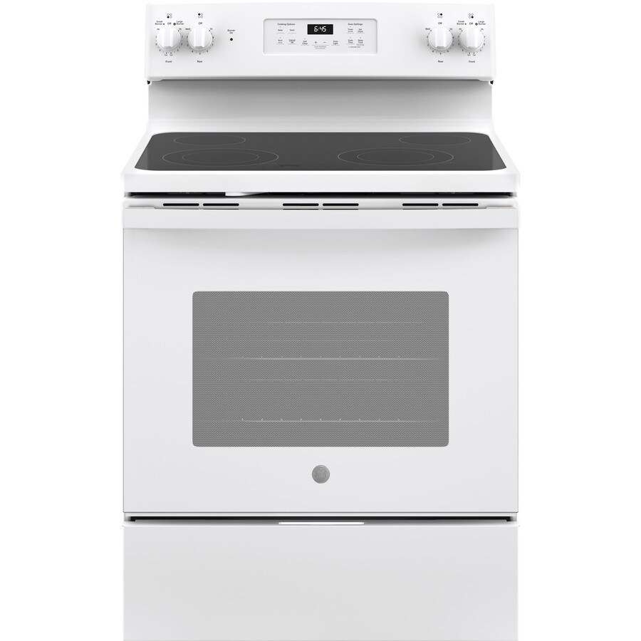 GE Smooth Surface Freestanding 5.3-cu ft Self-Cleaning Electric Range (White) (Common: 30-in; Actual: 29.875-in)