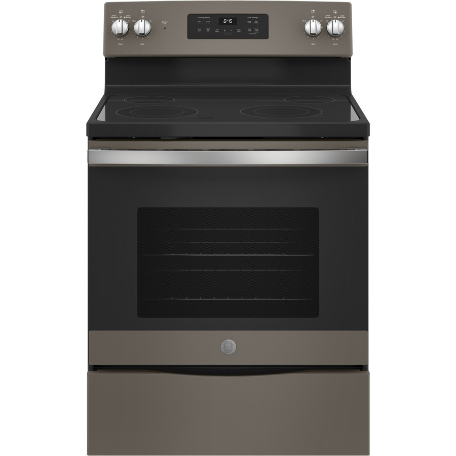 GE Smooth Surface Freestanding 5.3-cu ft Self-Cleaning Electric Range (Slate) (Common: 30-in; Actual: 29.875-in)