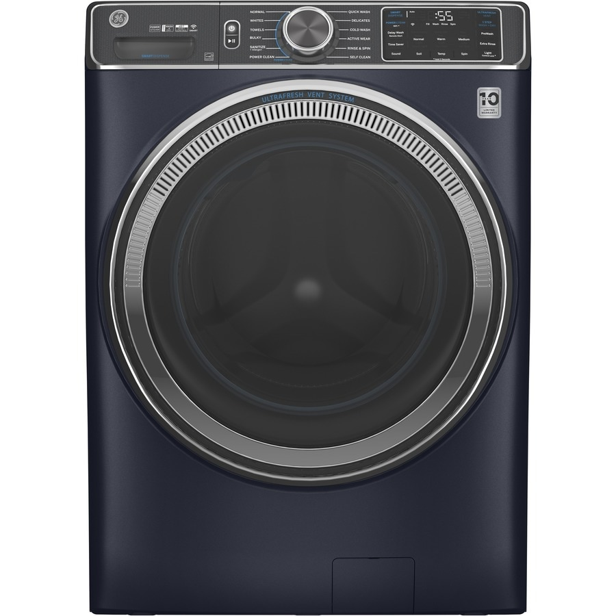 Ge Ultrafresh Vent System 5 Cu Ft Stackable Steam Cycle Front Load Washer Sapphire Blue Energy Star In The Front Load Washers Department At Lowes Com