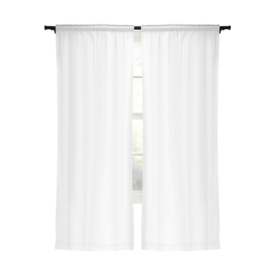 Style Selections Energy 80-in White Polyester Rod Pocket Blackout Curtain Panel Pair
