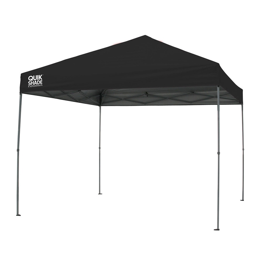 Quik Shade 10-ft W x 10-ft L Square Black Steel Pop-Up Canopy