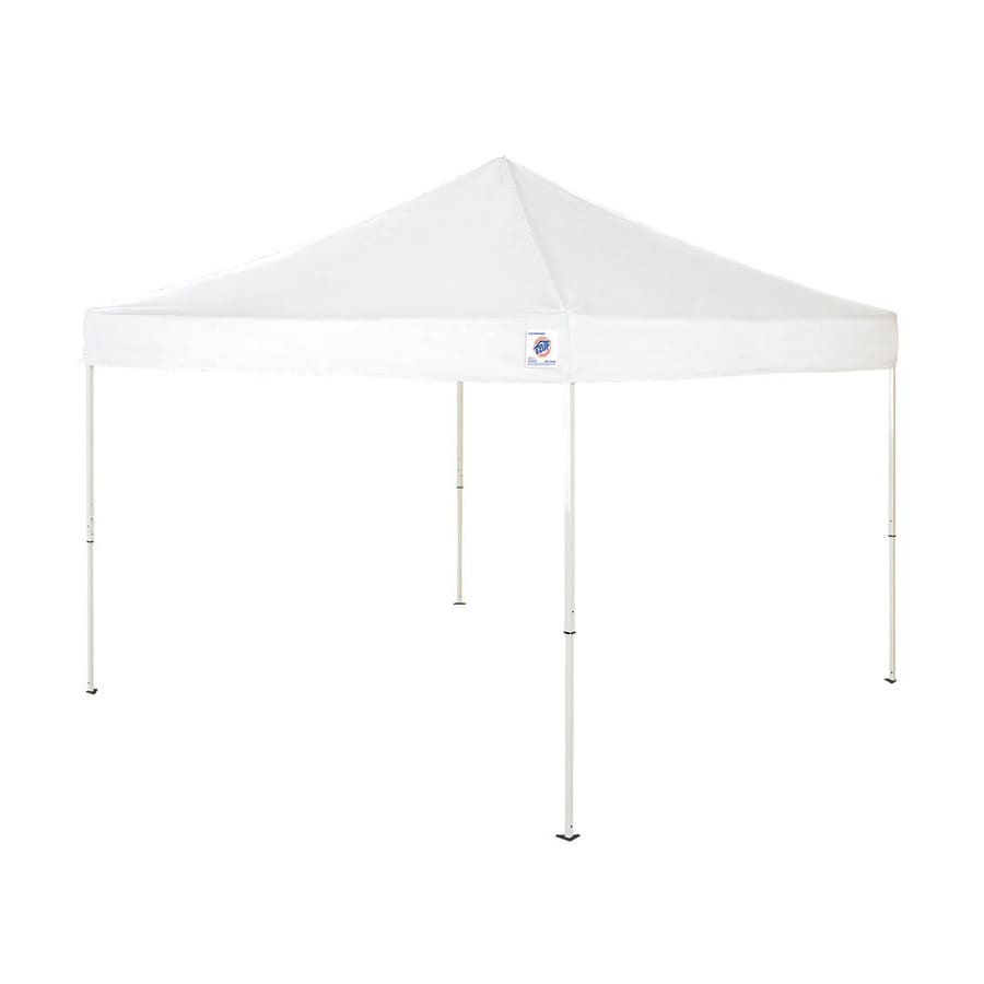 EZ-Up 10-ft W x 10-ft L Square White Steel Pop-Up Canopy