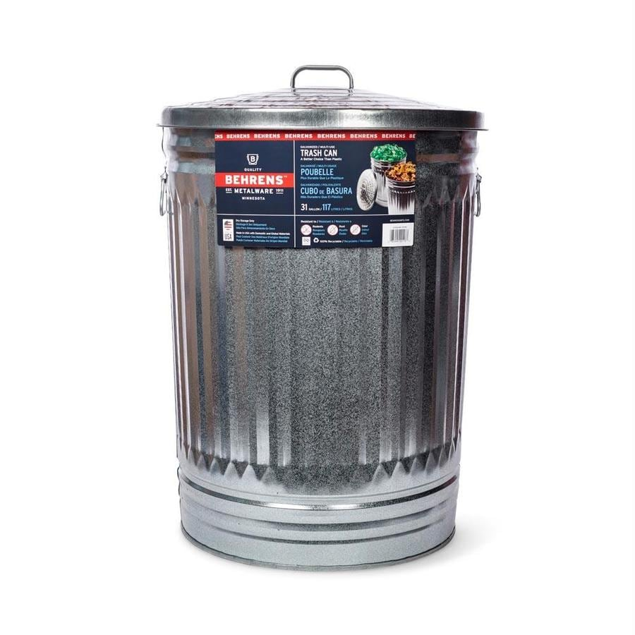 Behrens Steel 31-Gallon Silver/Galvanized Metal Trash Can with Lid