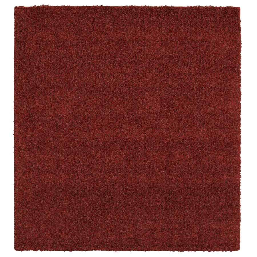Mohawk Home Perry Shag Red Red Rectangular Indoor Tufted Area Rug (Common: 8 x 8; Actual: 96-in W x 96-in L x 0.5-ft Dia)
