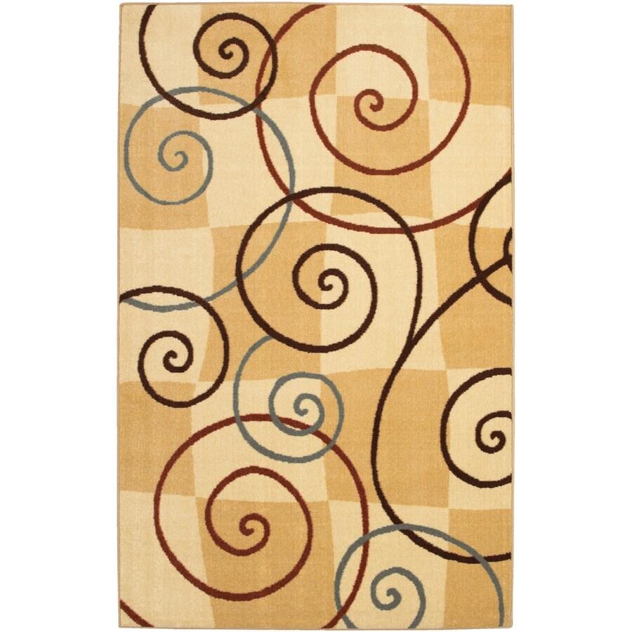 Mohawk Home Wonderland Swirl Beige 5-ft x 8-ft Rectangular Beige Geometric Area Rug