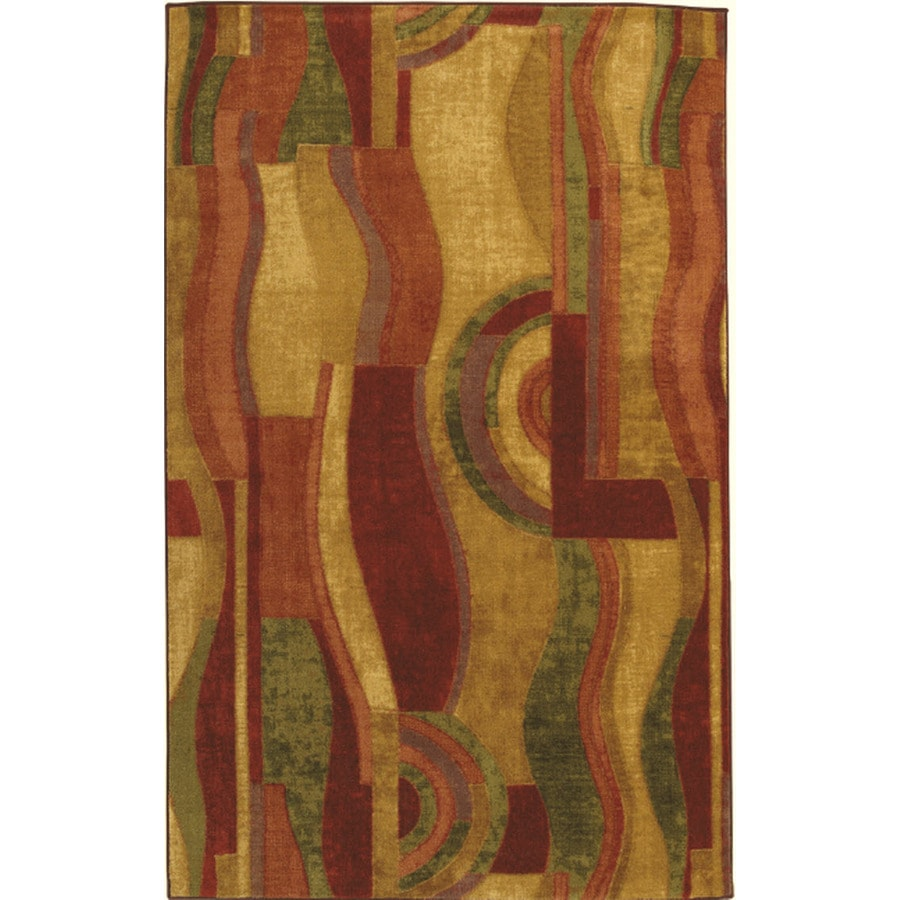 Mohawk Home Sediment Wave Earth 7-ft 6-in x 11-ft Rectangular Red Geometric Area Rug