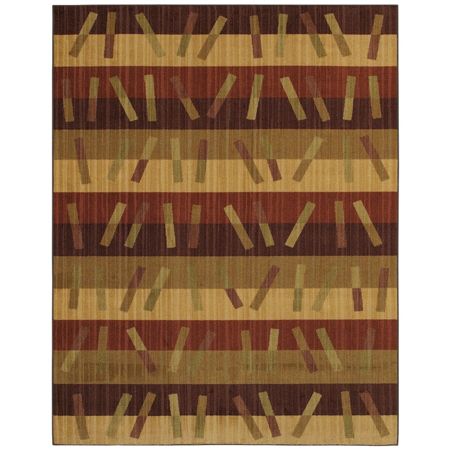 Mohawk Home Charleston Stripe 8-ft x 10-ft Rectangular Tan Transitional Area Rug