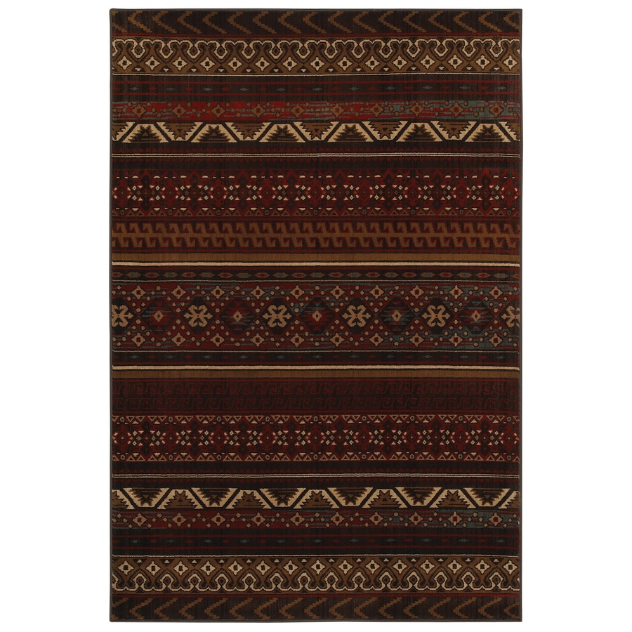 Mohawk Home Cedar Run Dark Brown Red Rectangular Indoor Woven Area Rug (Common: 5 x 8; Actual: 63-in W x 94-in L x 0.5-ft Dia)