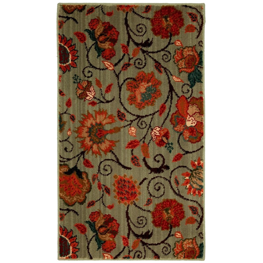 Mohawk Home Eason 25-in x 44-in Rectangular Green Floral Accent Rug