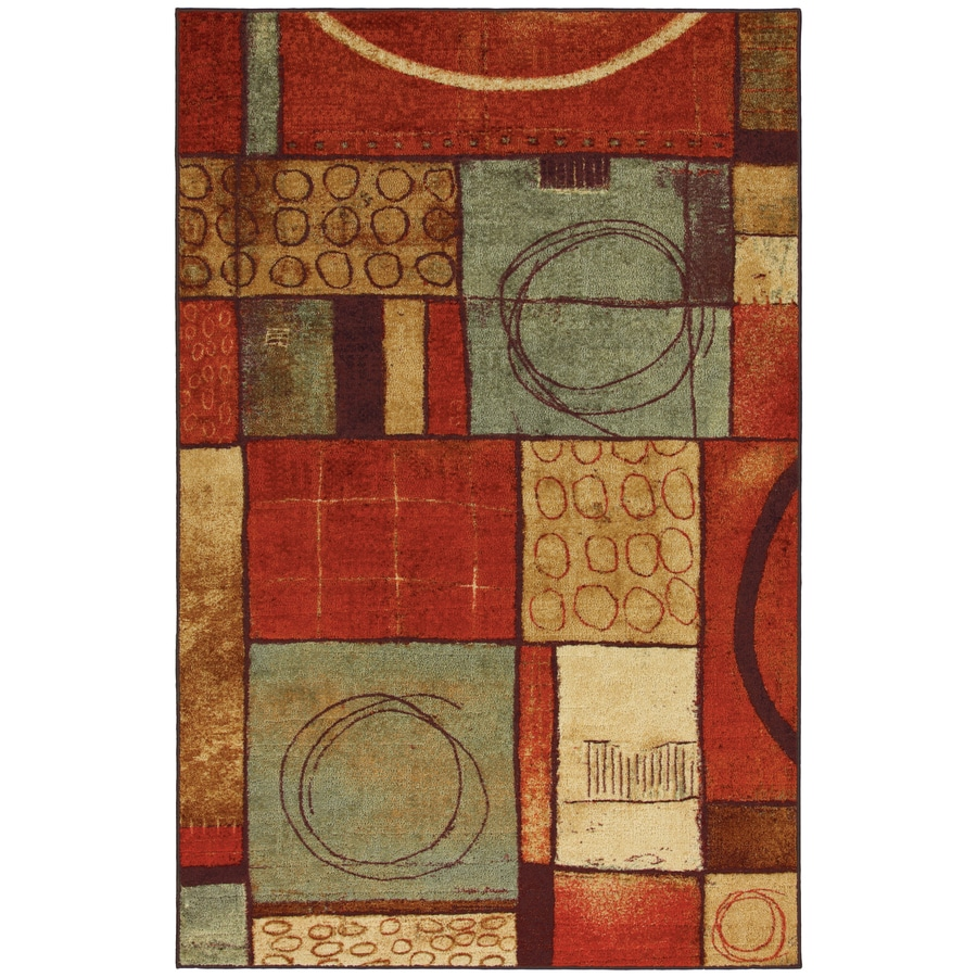 Mohawk Home Select Strata Loose Ends 8-ft x 10-ft Rectangular Orange Transitional Area Rug