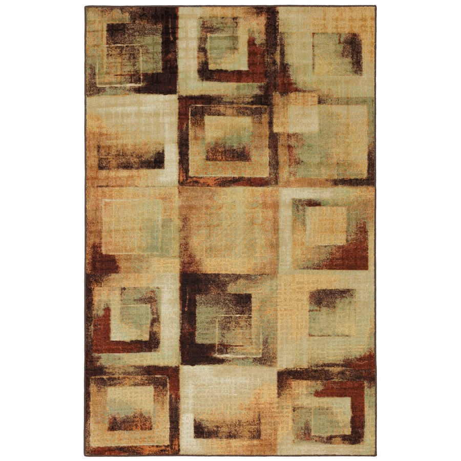 Mohawk Home Select Linen Mobile Blocks 60-in x 96-in Rectangular Brown/Tan Transitional Area Rug
