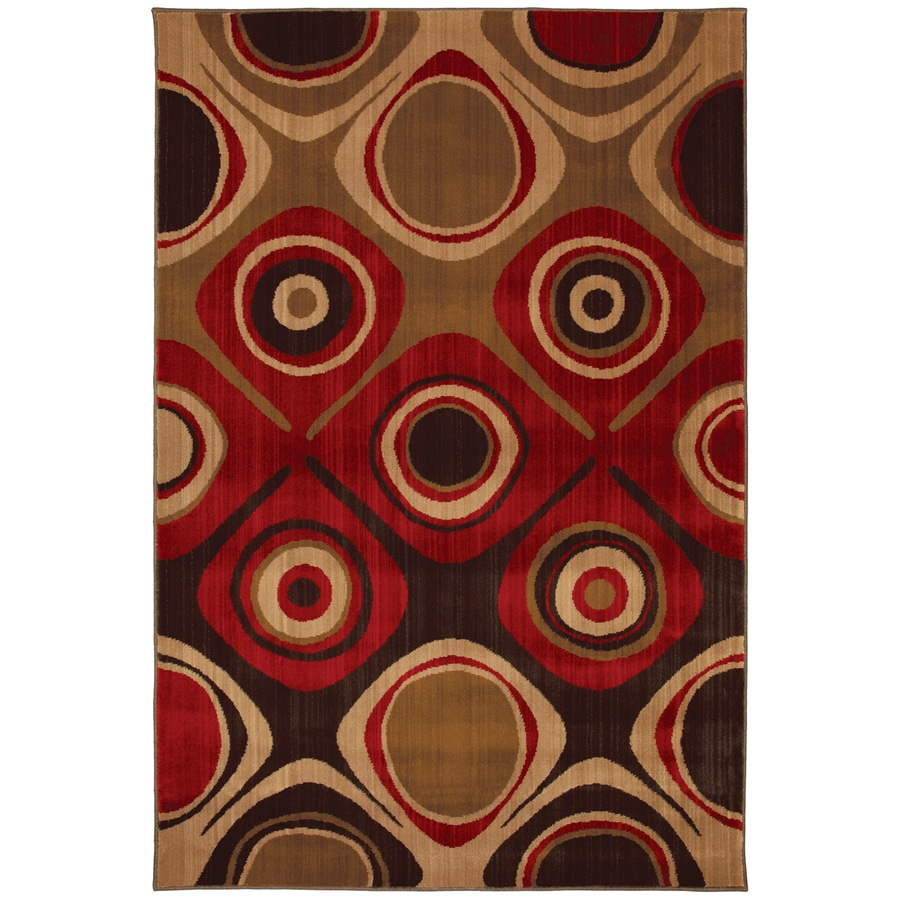 Mohawk Home Select Kaleidoscope Danger Zone Red Rectangular Red Transitional Woven Area Rug (Common: 5-ft x 8-ft; Actual: 5.25-ft x 7.83-ft)