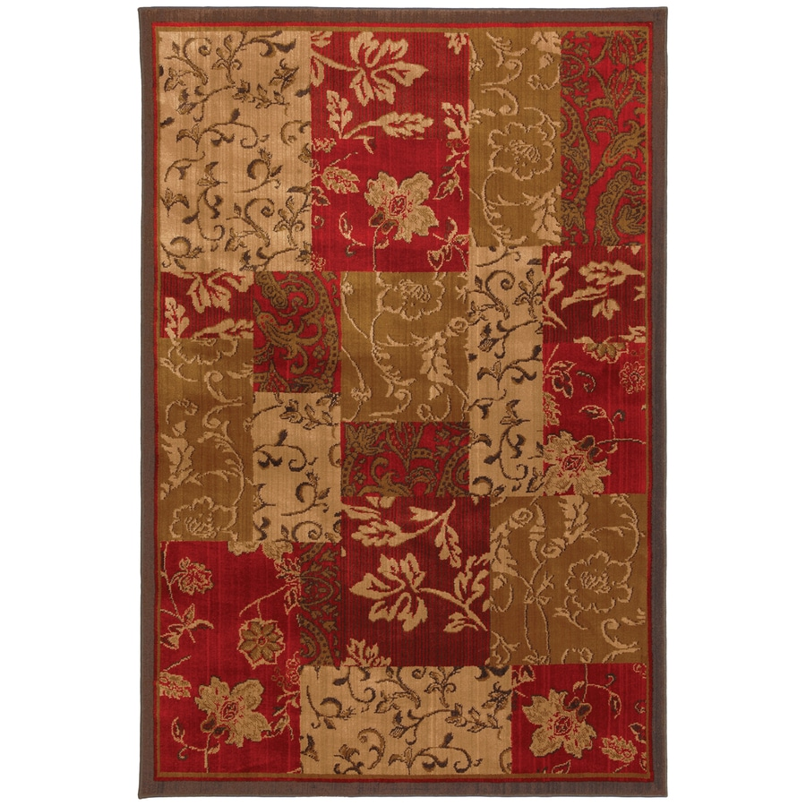 Mohawk Home Select Kaleidoscope Patchwork Brocade Red Rectangular Indoor Woven Area Rug (Common: 5 x 8; Actual: 63-in W x 94-in L x 0.5-ft Dia)