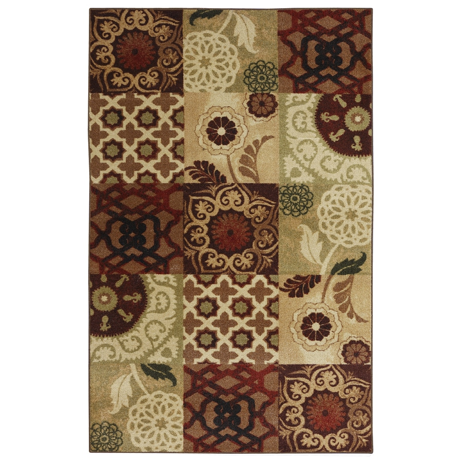 Mohawk Home Suzani Spice Earth Red and Cream Rectangular Indoor Tufted Area Rug (Common: 5 x 8; Actual: 60-in W x 96-in L x 0.5-ft Dia)