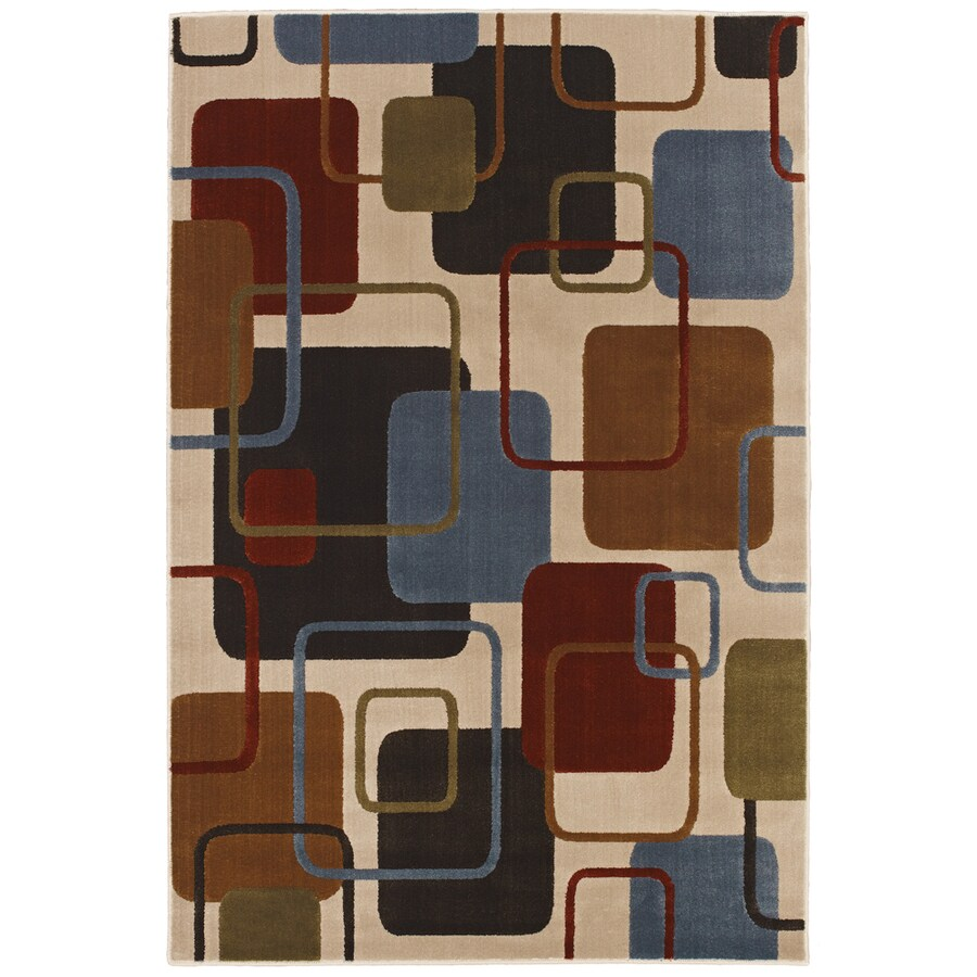 Mohawk Home Keystone Squares 5-ft 3-in x 7-ft 10-in Rectangular Beige Transitional Area Rug