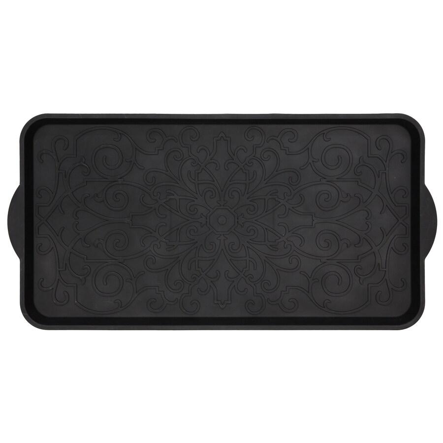 Mohawk Home Black Rectangular Door Mat (Common: 15-in x 26-in; Actual: 14.5-in x 29.2-in)