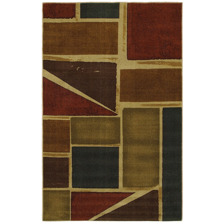 Mohawk Home Springfield Shapes Multi 60-in x 96-in Rectangular Brown/Tan Transitional Area Rug