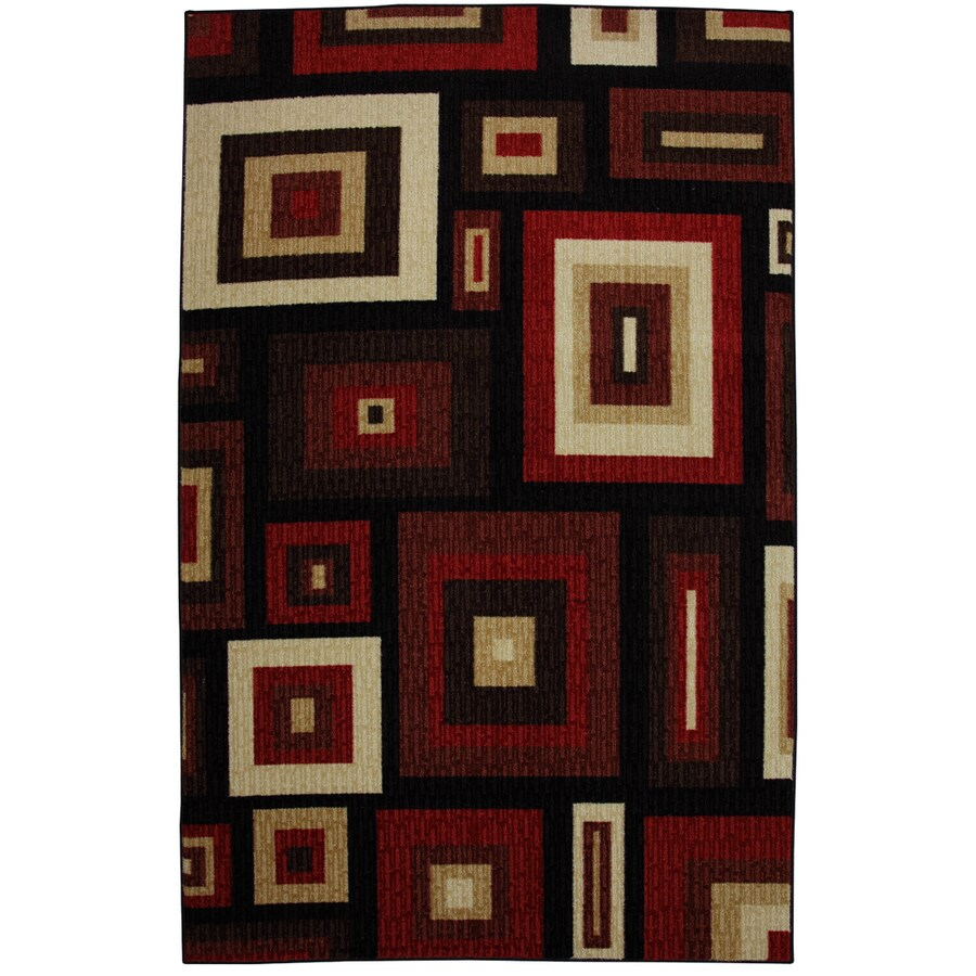 Mohawk Home Kingston Frames 8-ft x 10-ft Rectangular Red Geometric Area Rug