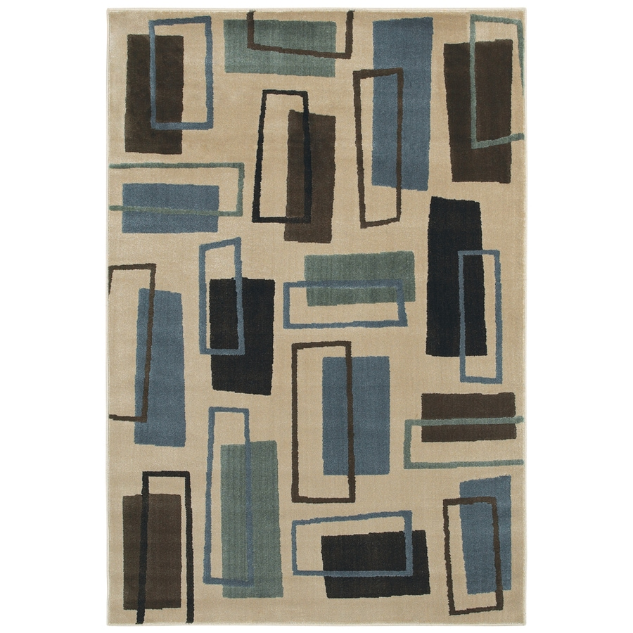 Mohawk Home Carson Rectangles 5-ft 3-in x 7-ft 10-in Rectangular Beige Geometric Area Rug