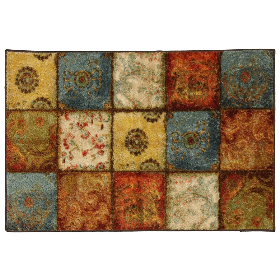 Mohawk Home Yellow Springs Patchwork Multicolor Rectangular Indoor Tufted Throw Rug (Common: 2 x 4; Actual: 30-in W x 46-in L x 0.5-ft Dia)