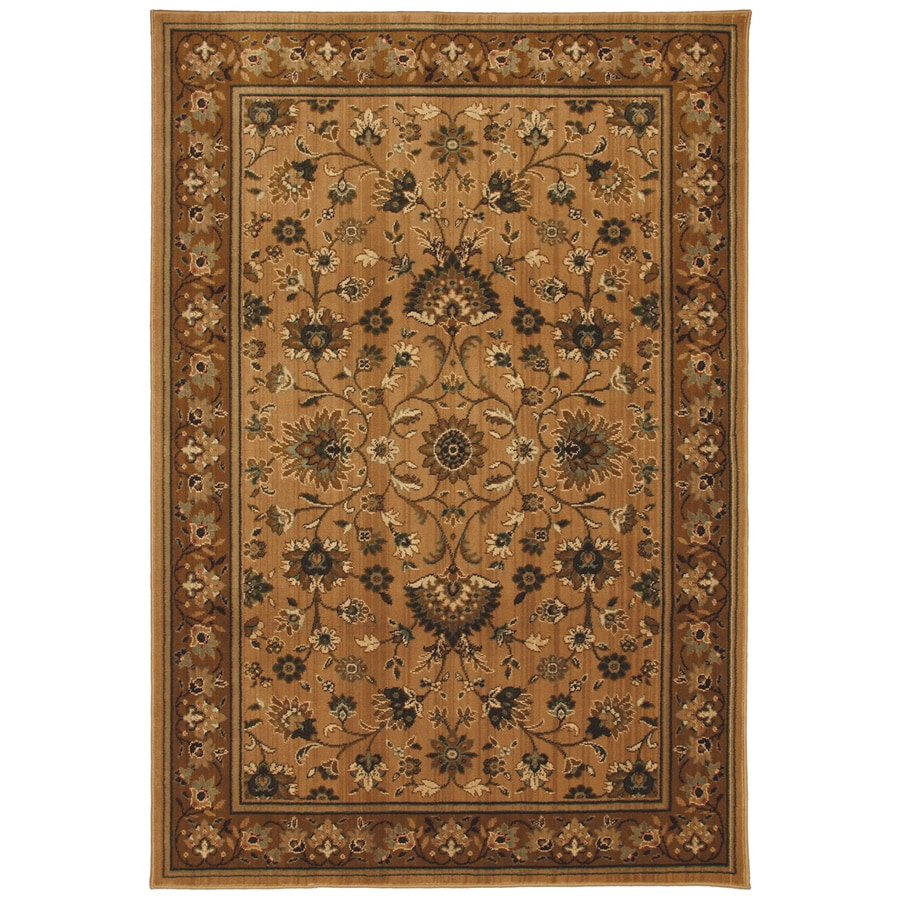 allen + roth Gladwyne Md 5-ft 3-in x 7-ft 10-in Rectangular Brown Floral Area Rug
