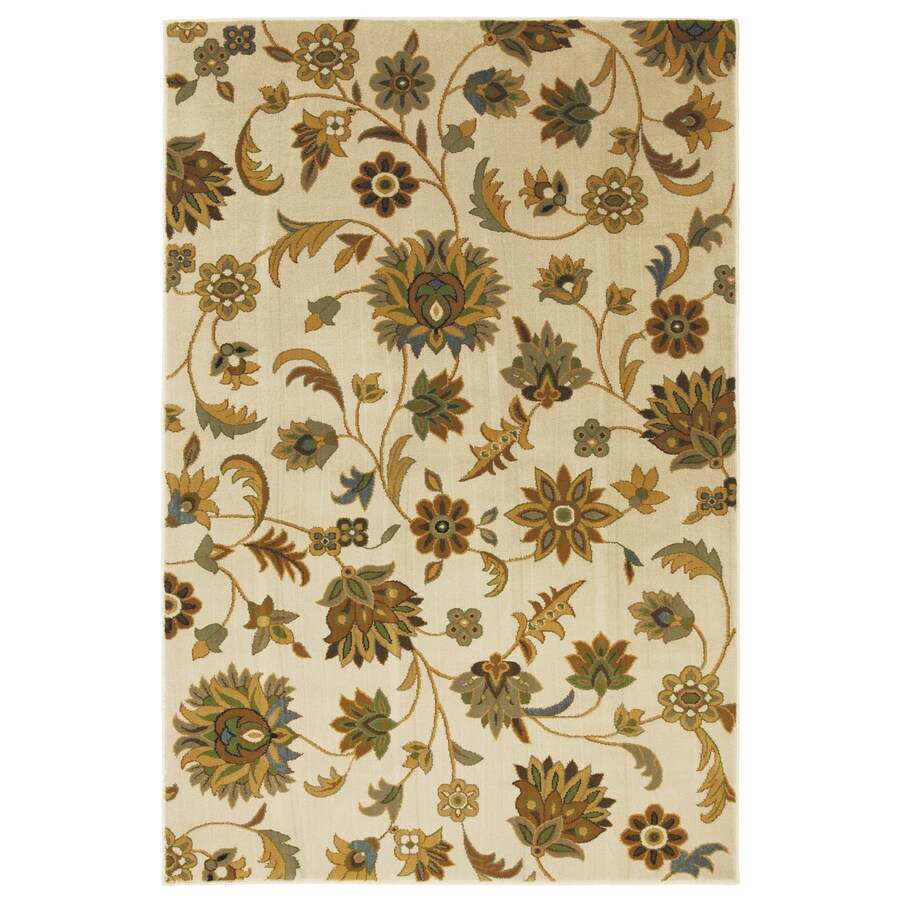 Mohawk Home Blackbourne Sand Storm Rectangular Cream Floral Woven Area Rug (Common: 5-ft x 8-ft; Actual: 63-in x 94-in)