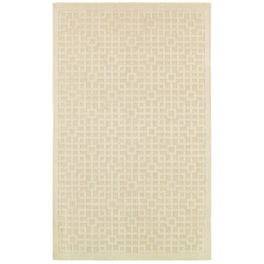 Mohawk Home Salt Box Ivory Rectangular Indoor Tufted Area Rug (Common: 5 x 7; Actual: 60-in W x 84-in L x 0.5-ft Dia)