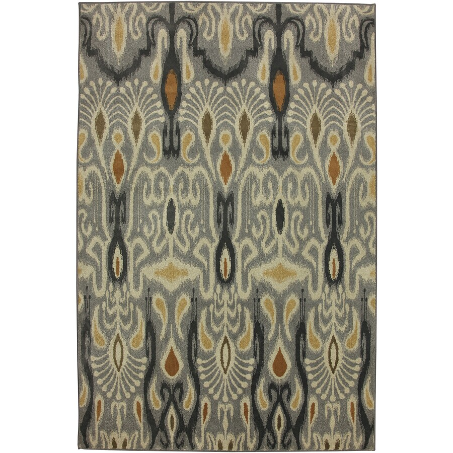 Mohawk Home Dorrego Ikat Sand Beige Grey Rectangular Indoor Woven Area Rug (Common: 5 x 8; Actual: 63-in W x 94-in L x 0.5-ft Dia)