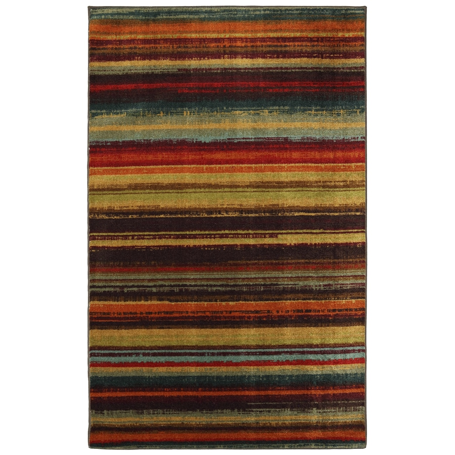 Mohawk Home Boho Stripe Brown and Multicolor Rectangular Indoor Tufted Area Rug (Common: 8 x 10; Actual: 96-in W x 120-in L x 0.5-ft Dia)